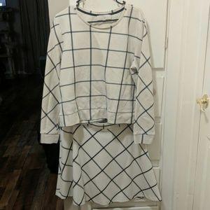 Loft | Windowpane top and skirt